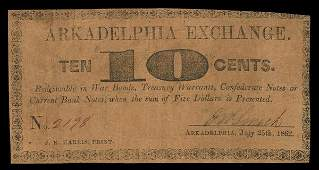 AR Arkadlephia Exchange. 10¢. 1862. Fine