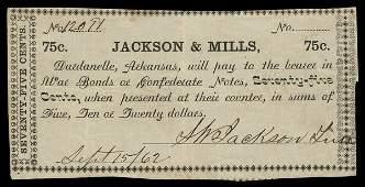 AR Dardanelle. Jackson & Mills. 75¢. 1862.