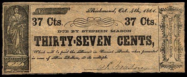 VA Richmond. Stephen Mason. 37¢. 1861