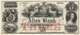 IL Alton Bank. $3. 1850s. Proof