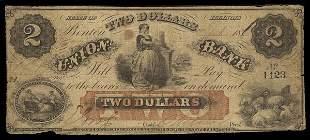 IL Benton Union Bank. $2. 1860s. Fine