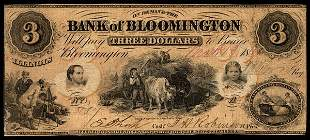 IL Bank of Bloomington. $3. 1861. F-VF