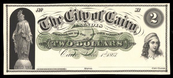IL City of Cairo. $2. 1867. Proof