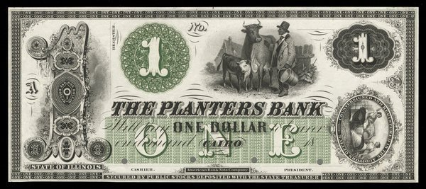 IL Cairo. Planters Bank. $1. 1860s. Proof