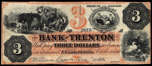 IL Elizabethtown. Bank of Trenton. $3. 1860.