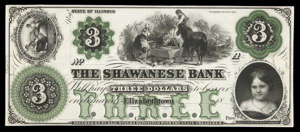IL Elizabethtown Shawanese Bank $3. 1860s