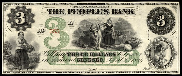 IL Geneseo. Peoples Bank. $3. 1864. Unc