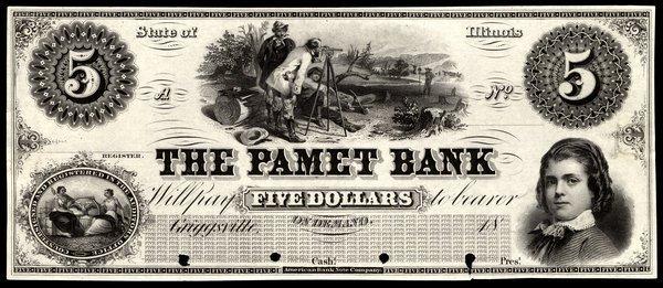 IL Griggsville. Pamet Bank. $5. Proof