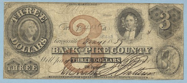 IL Griggsville. Bank of Pike County. $3. Fine