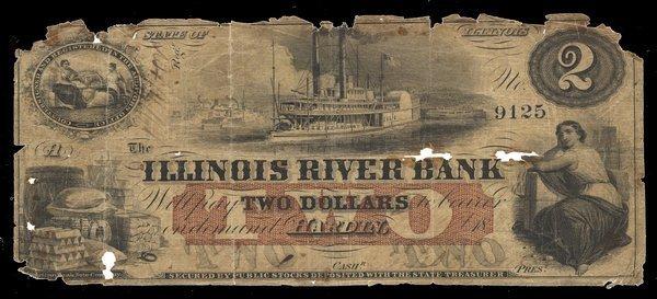 IL Hardin. Illinois River Bank. $2. Good