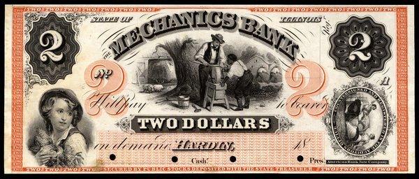 IL Hardin. Mechanics Bank. $2. Proof