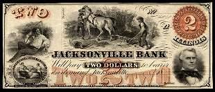 IL Jacksonville Bank. $2. Ca. 1859. Unc.