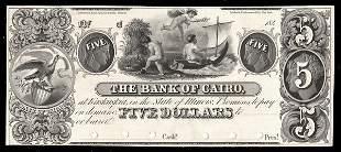 IL Kaskaskia. Bank of Cairo. $5. 1840s. Proof