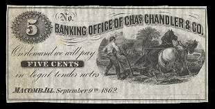 IL Macomb Chas. Chandler & Co.Scrip. 6 pcs