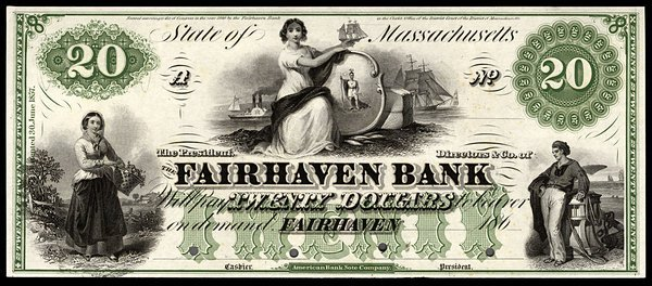 MA Fairhaven Bank. $20. 1860s. Proof