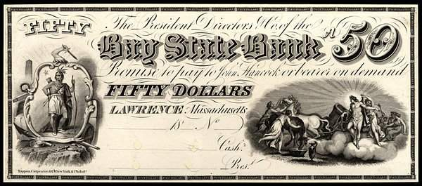 MA Lawrence. Bay State Bank. $50. 1850s