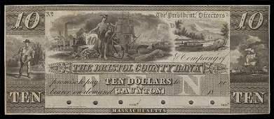 MA Taunton. Bristol Cty. Bank. $10. 1830s.