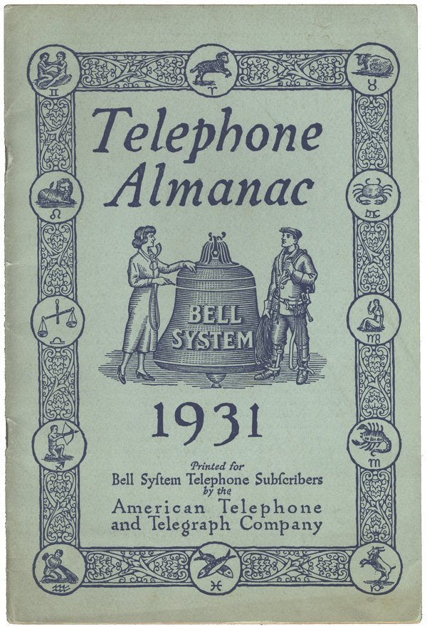 "BELL ""TELEPHONE ALMANAC"" 1931"