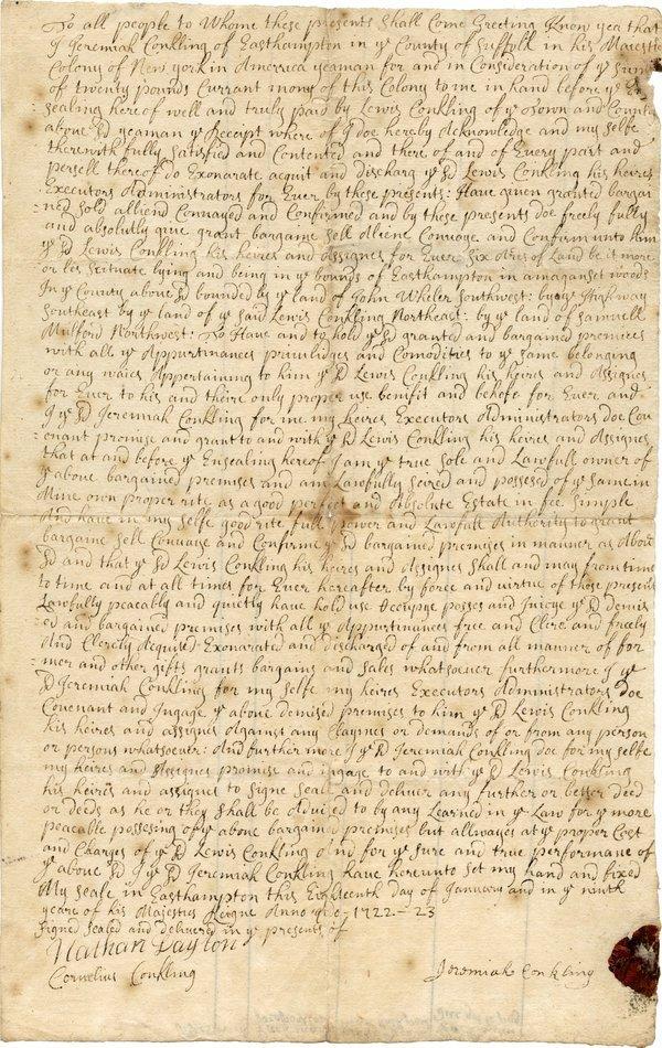 LONG ISLAND LAND DEEDS [8], 1721-1800