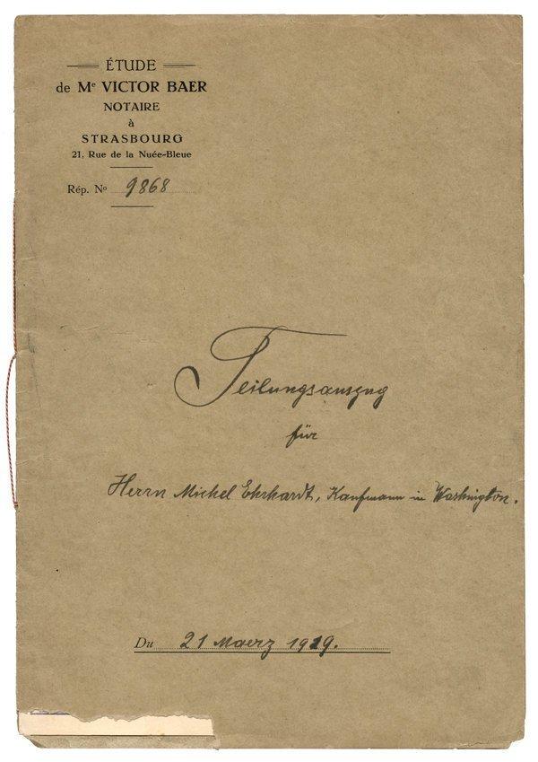 FRANCE: STRASBOURG WILL 1919