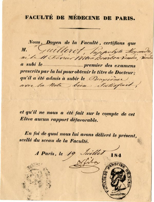 FRENCH MEDICAL CERTIFICATE, 1840s