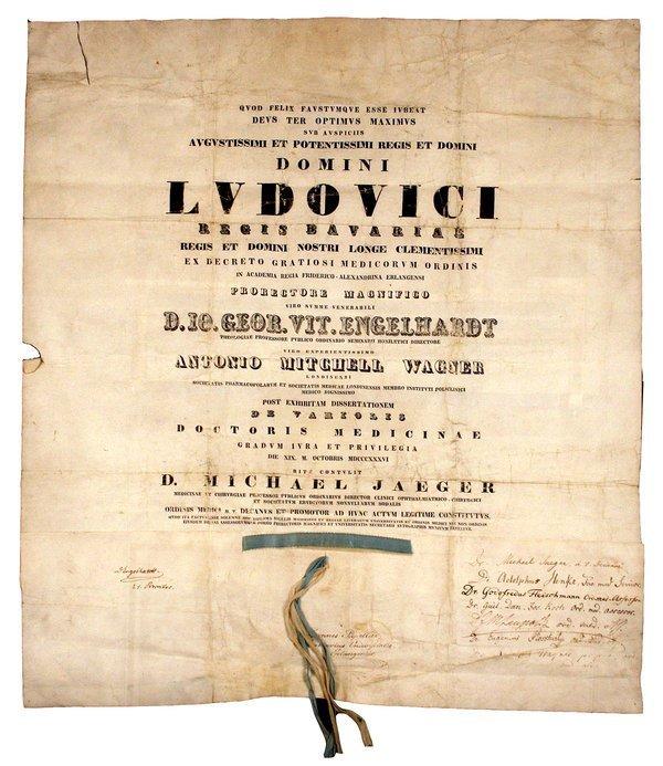 GERMAN MEDICAL DEGREE, 1836  elephant folio
