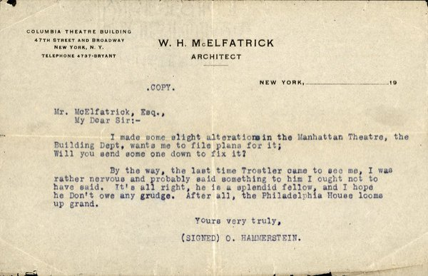 HAMMERSTEIN, OSCAR  Typed Letter, Unsigned