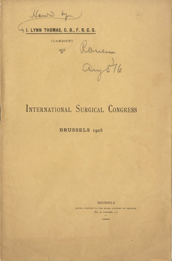 INTERNATIONAL SURGICAL CONGRESS 1905 pamphlet