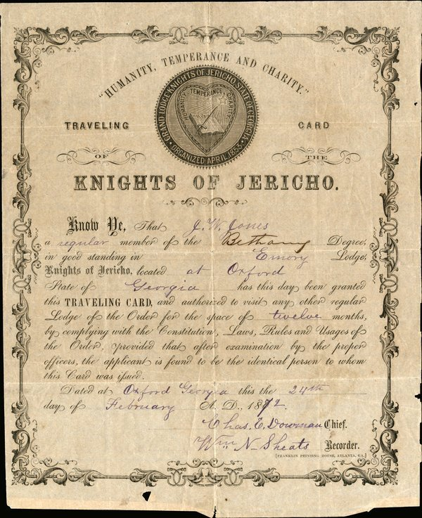 KNIGHTS OF JERICHO traveling card 1872