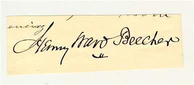 BEECHER, HENRY WARD clipped signature