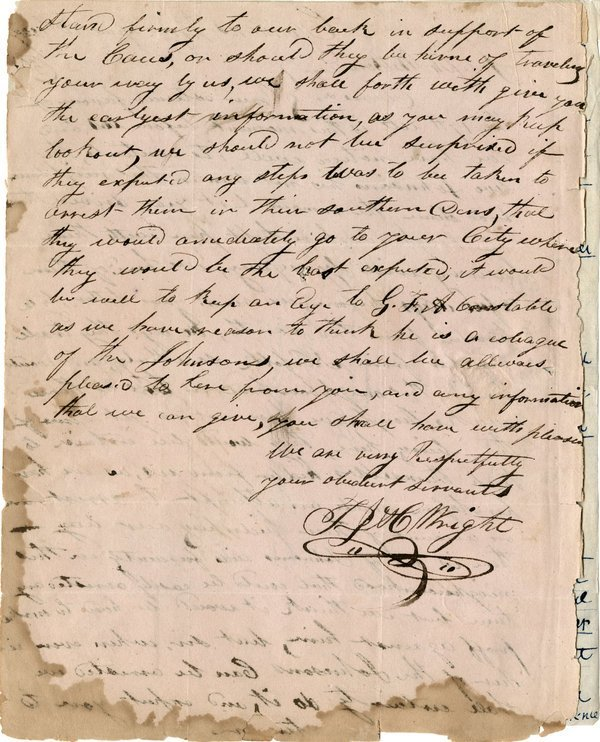 SLAVERY: CANNON'S FERRY  important letter! 1827