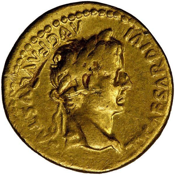 Roman Empire Tiberius Aureus Lugdunum