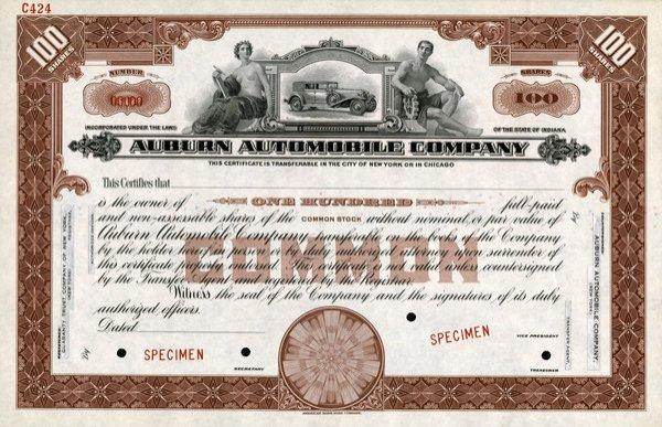 Auburn Automobile Specimen 100 shs EF.