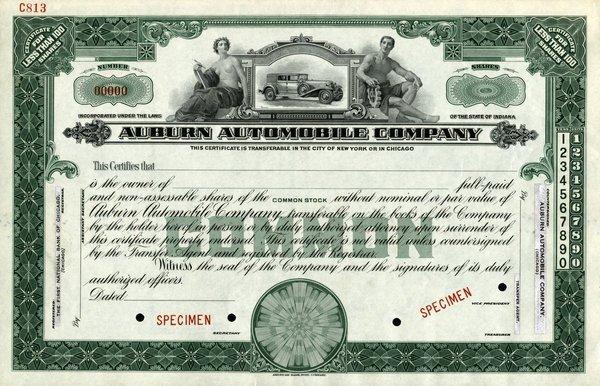 Auburn Automobile Specimen shs EF.
