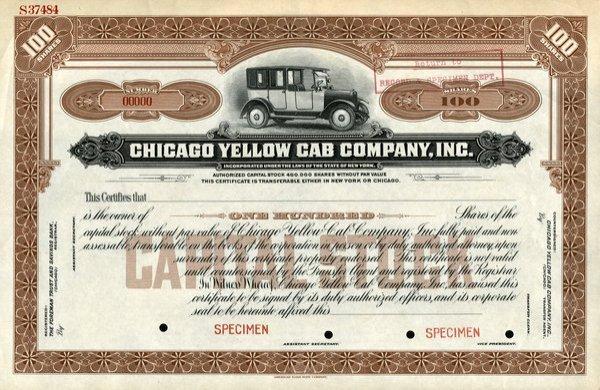 Chicago Yellow Cab Specimen 100 shs VF.