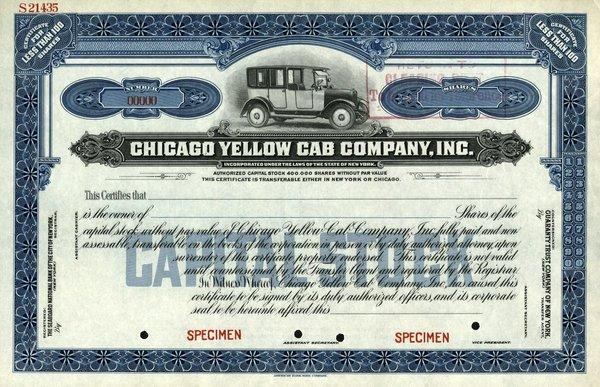 Chicago Yellow Cab Specimen shs EF.