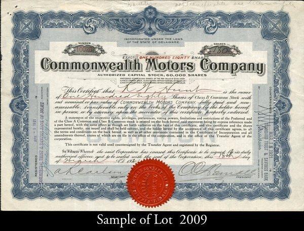 Commonwealth Motors 1921 shs VF.