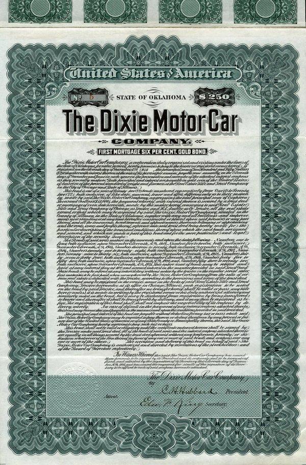 Dixie Motor Car 1911 $250 VF+.