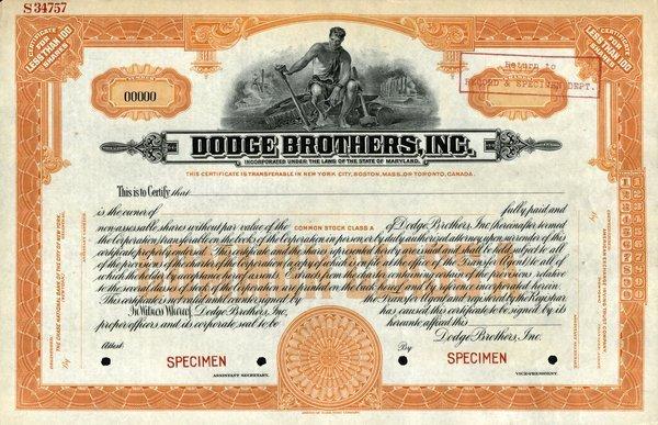 Dodge Brothers Specimen shs EF.