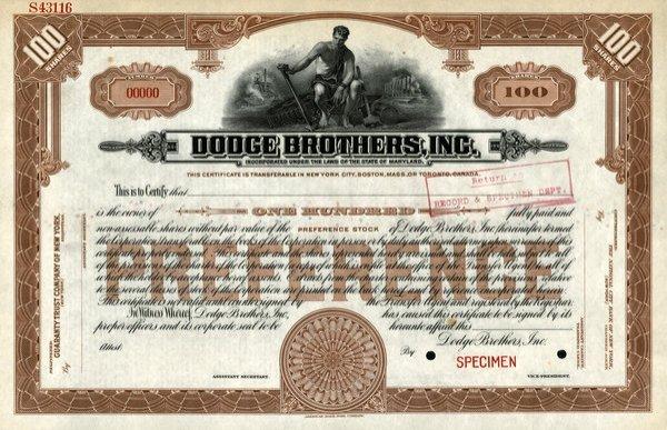 Dodge Brothers Specimen 100 shs EF.