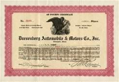 Duesenberg Auto. & Motors 1922 4 shs VF+.