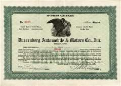 Duesenberg Auto. & Motors 1922 12 shs VF+.