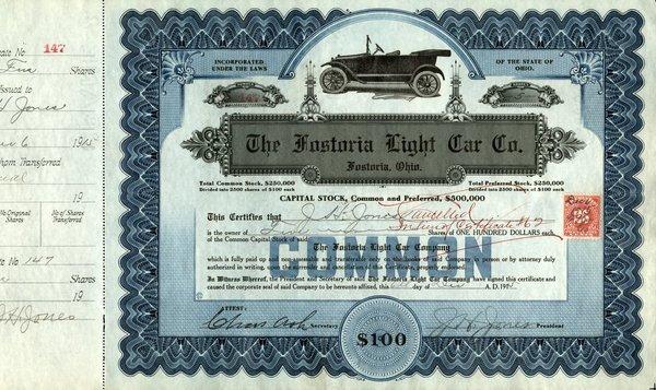 Fostoria Light Car 1915 5 shs VF+.