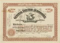 General Electric Automobile 1899 25 shs VF+.