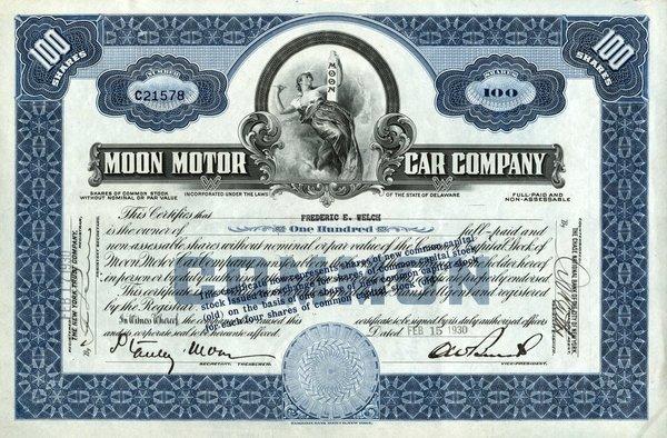 Moon Motor Car 1930 100 shs VF+.