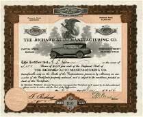 Richard Auto Mftg 1916 2 shs VF+.