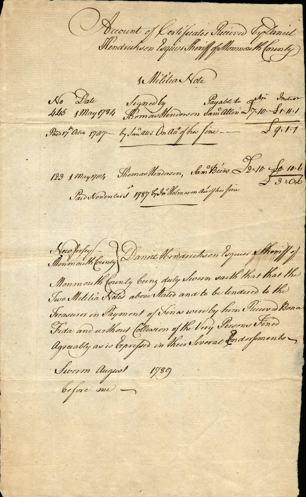 NJ Militia Note and PA Bill of Exchange (2)