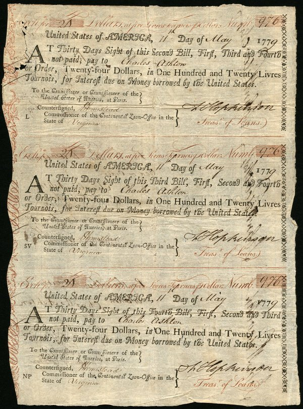 US of A 5/11/1779 $24 in 20 Livres Tournois