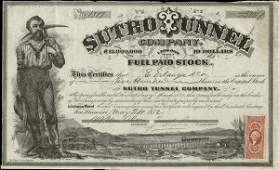 Sutro Tunnel 1872 500 shs VF+