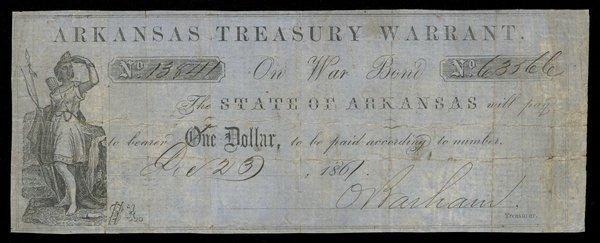 AR Arkansas Treasury Warrant $1 1861